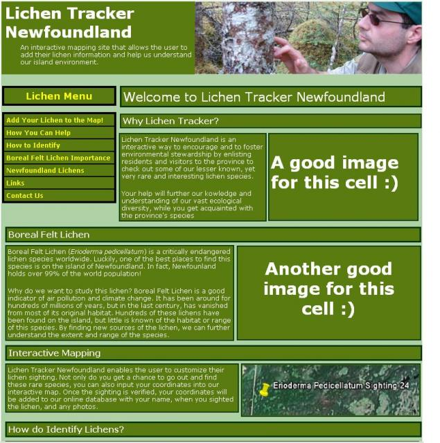 Sample page for Lichen Tracker. Please note that it is a work in progress, and they blocky feel will evolve into something much more smoother.